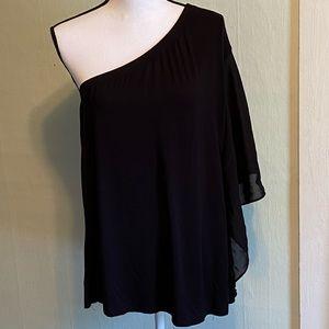 Lane Bryant One Shoulder flutter sleeve blouse